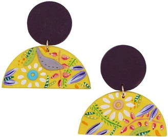 Emily Laura Designs Bright Yellow Half Moon Flower Clay Earrings