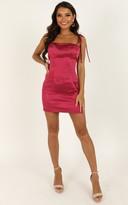 Showpo I Feel Pretty Dress in berry satin - 8 (S) Dresses
