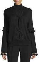 Andrew Gn Cable-Trim Mock-Neck Sweater