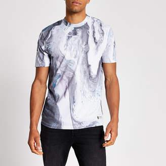 River Island White slim fit marble print T-shirt