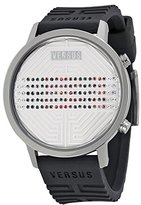 Versus By Versace Women's 3C71100000 Hollywood Digital Silver Dial with Crystals Black Rubber Watch