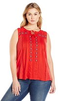Lucky Brand Women's Plus-Size Tank with Tassels Top
