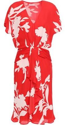 Joie Ashleena Draped Floral-print Silk-chiffon Mini Dress