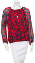 Diane von Furstenberg Printed Long Sleeve Silk Blouse