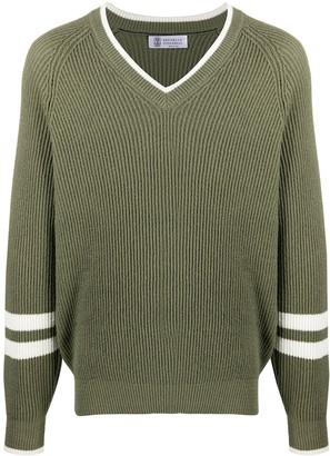 Brunello Cucinelli Ribbed Stripe Detail Sweater