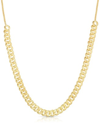 Sphera Milano 14K Yellow Gold Plated Sterling Silver Curb Link Adjustable Choker Necklace