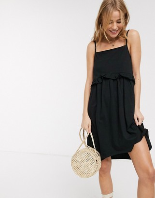 ASOS DESIGN square neck frill seam mini sundress in black