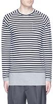 Wooster + Lardini Contrast underlay stripe long sleeve T-shirt