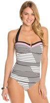 Tommy Bahama Slanted Stripes V Front Halter One Piece Swimsuit 8125539
