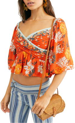 Free People Mirabella Floral Wrap Front Blouse