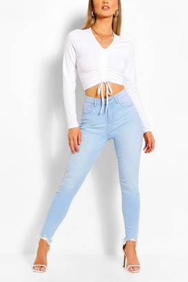 boohoo High Waist Frayed Hem Stretch Skinny Jeans