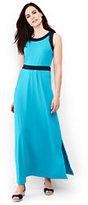 Lands' End Women's Sleeveless Knit Maxi Dress-Fresh Emerald Stripe