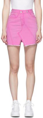 Sjyp Pink Asymmetric Denim Miniskirt