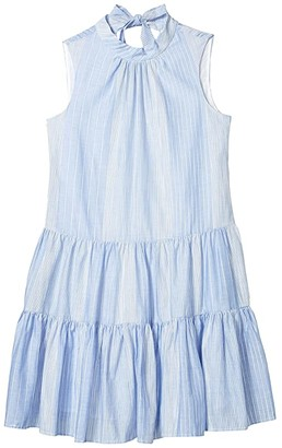 Calvin Klein Striped Tiered Dress (Serene/White) Women's Dress