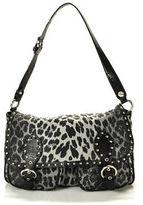 Moschino Cheap & Chic Moschino Cheap&Chic Black Leopard Print Silver Tone Detail Leather Trim Handbag
