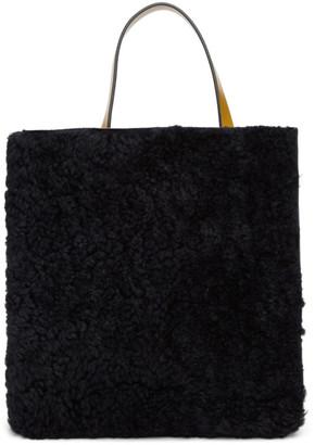Marni Black and Tan Shearling Mini Museo Soft Tote