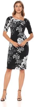 Adrianna Papell Women's Vintage Gardenia Jersey Sheath Dress with Cowl Neckline