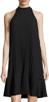 Nicole Miller Artelier Pleated Mock-Neck Trapeze Dress, Black