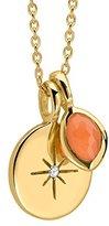 Missoma 18ct Gold Vermeil Star Disc Diamond and Orange Pendant of 41-46cm