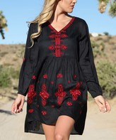 Ananda's Collection Women's Casual Dresses black - Black & Red Abstract Embroidered Peasant Dress - Women