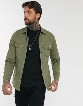 Liquor N Poker muscle fit denim shirt in khaki