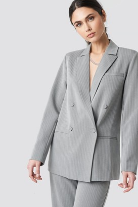 NA-KD Two Tone Striped Double Breasted Blazer Grey