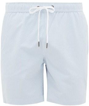 Onia Charles 7 Striped Swim Shorts - Mens - Light Blue