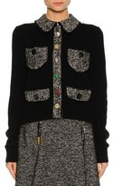 Dolce & Gabbana Tweed-Trim Patch-Pocket Sweater, Black