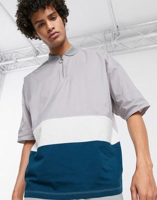 Asos DESIGN oversized polo shirt zip neck and woven color block in gray