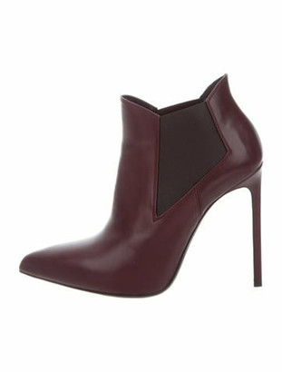 Saint Laurent Leather Pointed-Toe Booties
