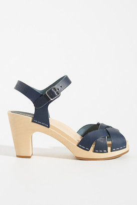 Swedish Hasbeens Kringlan Clog Sandals By in Blue Size 36