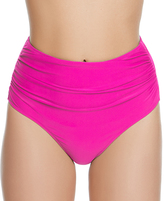 Betsey Johnson Fuchsia Malibu Solids Hi-Waist Bikini Bottoms