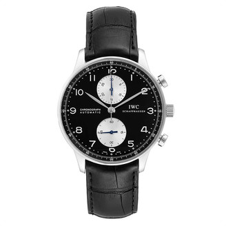IWC Black Stainless Steel Portuguese Chrono Automatic IW371404 Men's Wristwatch 40 MM