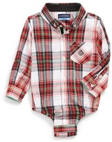 Andy & Evan Infant Boy's 'Christmas Plaid' Button Down Bodysuit