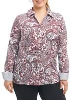 Foxcroft Plus Johhny Cotton Button-Down Shirt