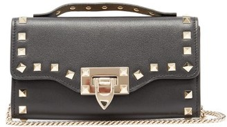 Valentino Rockstud Chain-strap Top-handle Leather Wallet - Black