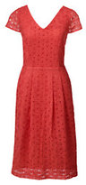 Classic Women's Petite Cap Sleeve Lace Sheath Dress-Clear Coral