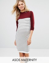 Asos Knitted Dress in Stripe Color Block