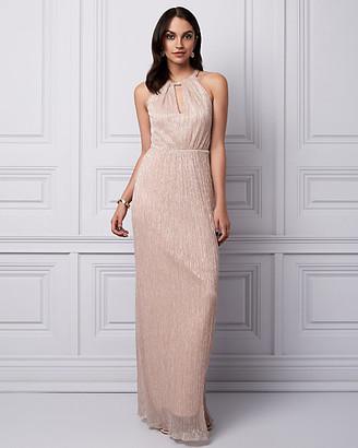 Le Château Metallic Knit Halter Gown