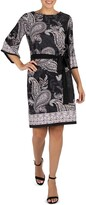 Thumbnail for your product : Sandra Darren Quarter Sleeve Paisley Belted Puff Shift Dress