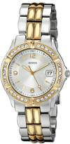 GUESS GUESS? Women's U0026L1 Sporty Gold-Tone Watch with Silver Dial , Crystal-Accented Bezel and Stainless Steel Deployment Buckle