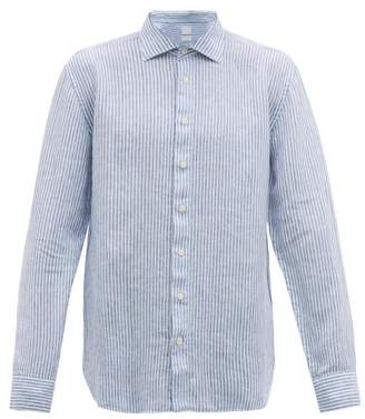 120% Lino Spread-collar Striped Slubbed-linen Poplin Shirt - Mens - White