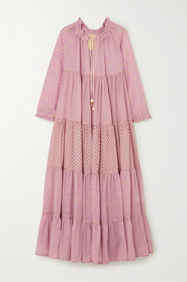 Yvonne S Hippy Tiered Printed Cotton-voile Maxi Dress - Baby pink