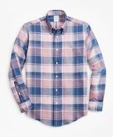 Brooks Brothers Milano Fit Plaid Irish Linen Sport Shirt