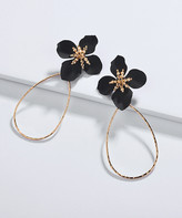 Ella & Elly Women's Earrings Black - Black Resin & Goldtone Floral Open Teardrop Drop Earrings