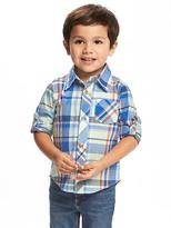 Old Navy Plaid Roll-Sleeve Shirt for Toddler Boys
