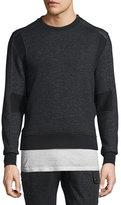 Belstaff Hornby Mixed-Media Fleece Sweater, Black