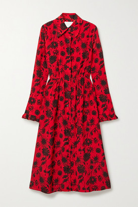 Les Rêveries Open-back Ruffle-trimmed Floral-print Silk Crepe De Chine Midi Dress - Red