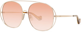 Loewe Cutout Sides Round Metal Sunglasses