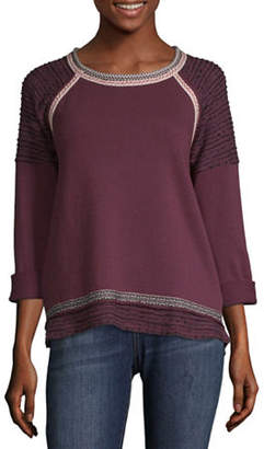 Rewind-Juniors Womens Scoop Neck Long Sleeve French Terry Blouse